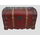 Wood & Leather Retro Antique Vintage Style Wooden Storage Box And Container( 55*40*35 CM)