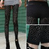 Women Fashion Sexy Punk Hole Hollow Out Ripped Slashed Funky Tights Ladies Pants Leggings