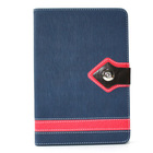 Toothpick Pattern Folio Stand Leather Case for iPad mini Blue