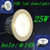 25W recessed led ceiling light,die-casting aluminium,white, AC180-260V COB LED downlight for stage,garden,tunnel,house,Retail