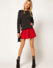 Fashion nifty candy color pleated waist skirt