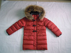 Wholesale & Retail Girls Fur Hooded Buckle Down Coat/jacket--Red
