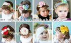 Yiwu Fresh style Colorful flower headbands cotton hair band cotton head scarf Baby headwear headdress