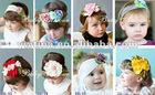 Yiwu Fresh style Colorful flower headbands cotton hair band cotton head scarf Baby headwear headdress