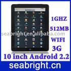 10 inch MID ( andriod 2.2 capacitive screen bluetooth Wifi G-sensor 3G SIM card slot 2GB/512MB MG106C )