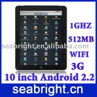 10 inch MID ( andriod 2.2 capacitive screen bluetooth Wifi G-sensor 3G SIM card slot 2GB/512MB MG106C )