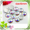 round flat shape 15mm acrylic stones with silver color back