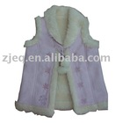 T46940--girls's vest in fake suede bonded sheep fur with embroidery