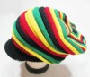 Rasta Visor Beanie Stretch HAT CAP Black Jamiaca RH004