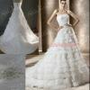 Beautiful Princess Strapless Natural Waist Chapel Train Layered Organza Lace Bridal Dresses 2012