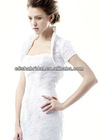 Short Sleeve Open Front High Neck Lace Bridal Wedding Coats