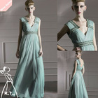 Newest Deep V-Neck Sleeveless Empire Waist Floor Length Evening Dress 2012