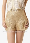 Gold Sequin Shorts With Pockets for women HSP025