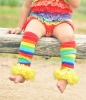 rainbow color baby leg warmers with yellow ruffles