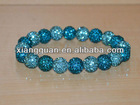 XG-OLK0339 10mm Turquoise Aqua Blue Green Pave Crystal Disco Ball Bead Stretch Bracelet