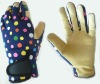 Pig leather palm, Colourful spandex back Glove