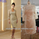 Sand Elegant Sheath Beaded Neckline Embroidered Lace Knee Length Mother Of The Bride Dresses