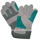 Green Reinforced Cow split grey leather work glove