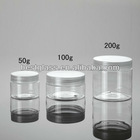50/100/200g plastic jars, clear plastic jars with lids