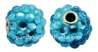 Handmade Indonesia Beads, with Brass Core, Round, DeepSkyBlue, about 18x16mm, hole: 3.5mm(IPDL-A010-13)