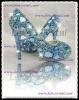 new wedding light blue color jewelry & swarovski crystal high heel pumps peeptoe / open toe 5,6,7,8,9,10,11,12