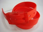 new design silicone belt with samll round holes ,Drop shape holes rubber blet ,star shape holes silicone belt