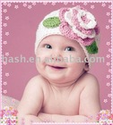 crochet baby hat with flower pattern (MSH0031)