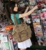 2807 canvas + genuine leather, leisure handbag, ladies' canvas shoulder bag
