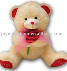 Plush Valentine teddy bear with rose,Stuffed Valentine toy