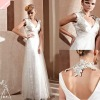 Newest Stunning White Sleeveless V Neck Collar Long Evening Dress