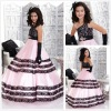 New Hot Saled Princess One-shoulder Pink and Black Tiered Details Lace Flower Girl Dress
