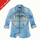 (# TG023SH ) 2012 Fashion Blue Ladies Cotton Beach shirt