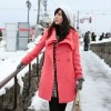 new style pink long woolen coat for women