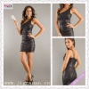 2098-1hs Eye-Catching Sexy Shiny Black one shoulder Mini Short Zipper Back black cocktail dress