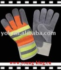 Cow split leather on palm/leather safety glove/index finger/patched palm/rubberized cuff/cow split,drill fabric/double palm/colo