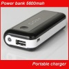 Portable USB power charger/battery charger with LED torch