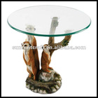 Resin standing glass round tea table (RT-01)