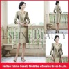 Knee-length satin scalloped strapless long sleeve mother of the bride dresses with bolero jackets