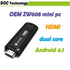 First Low energy ZW608 Mini pc Nufront dual core rk3066 android 4.1 cortex-a9 1.2GHz HDMI TV box support remote control