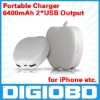 6400mAh Portable Charger for iPad iPhone MOBILE PHONE 2USB Output Mobile Power