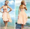Discount Opulent Strapless Knee Length Chiffon Peach Cocktail Dresses