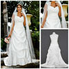 MWD0024 Hot Sale Cap Sleeved Satin Side-Draped A-Line Lace Top Wedding Gown