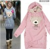 Free Shipping Hot Sell Women's Ladies Cute Teddy Bear Long Top Pullover Thickening Winter Warm Hoodie Garment Coat (1210814)