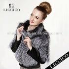 Lady Sheepskin Leather & Silver Fox Genuine Fur Coat #HD-79-2