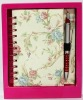 fancy sprial notebook with pen gift sets