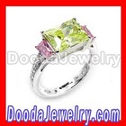 Alpha Kappa Alpha AKA Rings with Pink&Green zircon-diamond