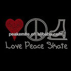 Iron on Love Peace Skate Rhinestones Wholesale for Garments