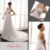 Shoulder Straps Beaded Lace-up Chiffon Wedding Dress HT-0889