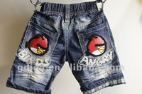 2012 special little bird design denim short kids jeans