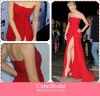 Custom Made Sleeveless Side Draping Chiffon Red Prom Dress Sexy Backless Evening Gown
